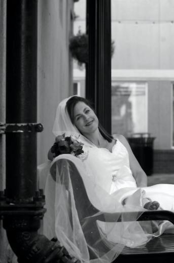 Bride relaxing after a hard days photo-shoot.